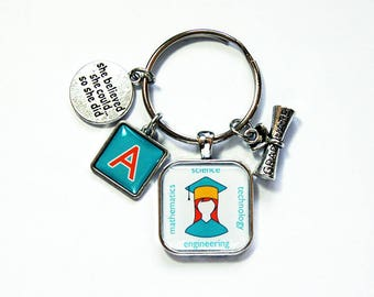 STEM keychain, Monogram keyring, steminist, Keychain for graduate, stocking stuffer, Science, Technology, Mathematics Engineering (7981)