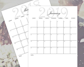 Printable Calendars 2018 - 2019 - 2020 - 2021, Monthly Calendars, Wedding Planner Calendars