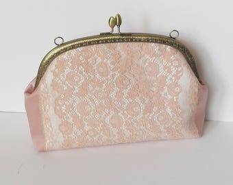 Bridal clutch  bag,  Bridesmaid clutch,  Satin clutch  Lace  Brides  Purse,  Mother of the Bride , Made to order