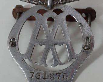 FLAT CHROME AA Car Badge 73187G Vintage