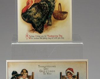 2, Vintage, Thanksgiving, Post Card, Unused, Pilgrim, Turkey, Gift for Her, Home Decor, Gift for Him, Gift, Rustic, Woodland, Fall Decor