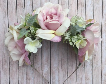Pink Flower Crown, Pink Headband, Flower Headband, Pink Rose, Bestival, Bride Headband, Pink and White, Boho Wedding, Rose Headband