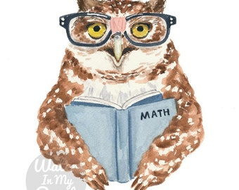 Nerdy Owl Watercolour Painting - Fine Art Print, Math Nerd with Hipster Glasses, Wall Decor for a Science Lover
