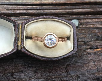 1ct Round Moissanite Engagement Ring | Forever One Moissanite Rose Gold Engagement Ring | Bezel Set Ring | Conflict Free Engagement Ring