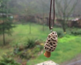 Polymer clay MOREL pendant necklace - handmade vegetable jewelry