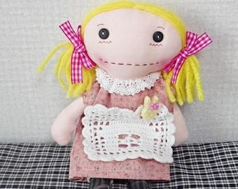 "Fabric doll, Rag doll, Cloth doll, Sweet house pink bow 22cm, 8 1/2"""