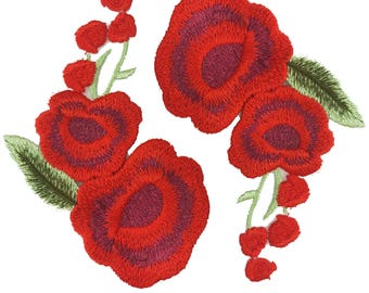 Embroidered Sewing Red Roses Patch Applique, Poppy Flower Red Flower Patch Applique Badge