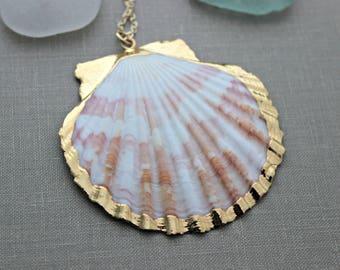 Pink and white Gold dipped scallop Seashell necklace, gold plated shell necklace on gold plated chain, Beach jewelry, boho jewelry purple