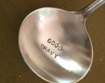 Good  Gravy    recycled vintage silverware hand stamped gravy ladle