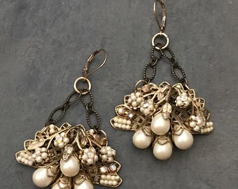 UPCYCLEd ANTIQUE  PEARL EARRINGS