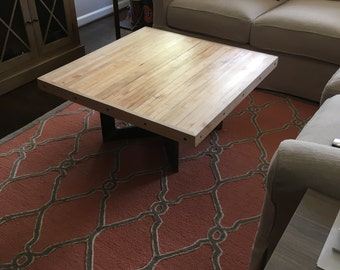 Coffee Table from reclaimed bowling lane and rectangle steel Maple or Pine to choose from