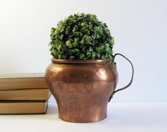 Vintage Copper Planter with Handle - Hammered Copper Pitcher - Heavy Copper Flower Pot - Copper Home Decor - Indoor Outdoor Garden Pot