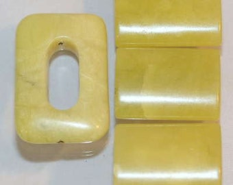 Lime Jade Serpentine Bead Set, Bead Supplies, Oval, Rectangle Pillow and Open Rectangle Beads