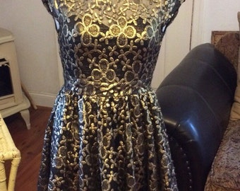 Eros Apparel Black And Gold Party Dress in Size Small