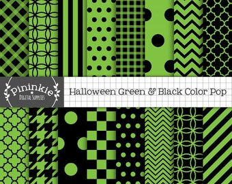 Green and Black Digital Paper, Green Halloween Digital Paper, Instant Download, Commercial Use