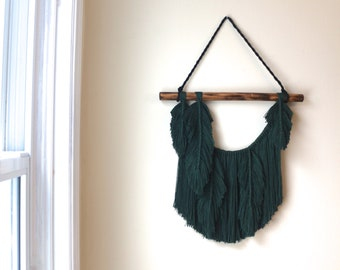 Fibre Feather Wall Hanging #03 || Forest Green