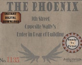 THE PHOENIX SPEAKEASY Card Printable Sign ~ Prohibition, Roaring 20s Style, Art Deco, Gatsby Party or Wedding Bar Front Door Decoration