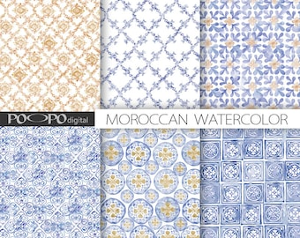Moroccan digital paper blue mustard yellow tiles Morocco pattern arabesque mosaic scrapbooking mosaic royal blue hand painted watercolor