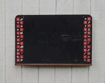 """Children's Large Blackboard Chalkboard 36"""" x 24"""" Alphabet Bright Colored Graphic Images Ready to Hang Educational Toys"""