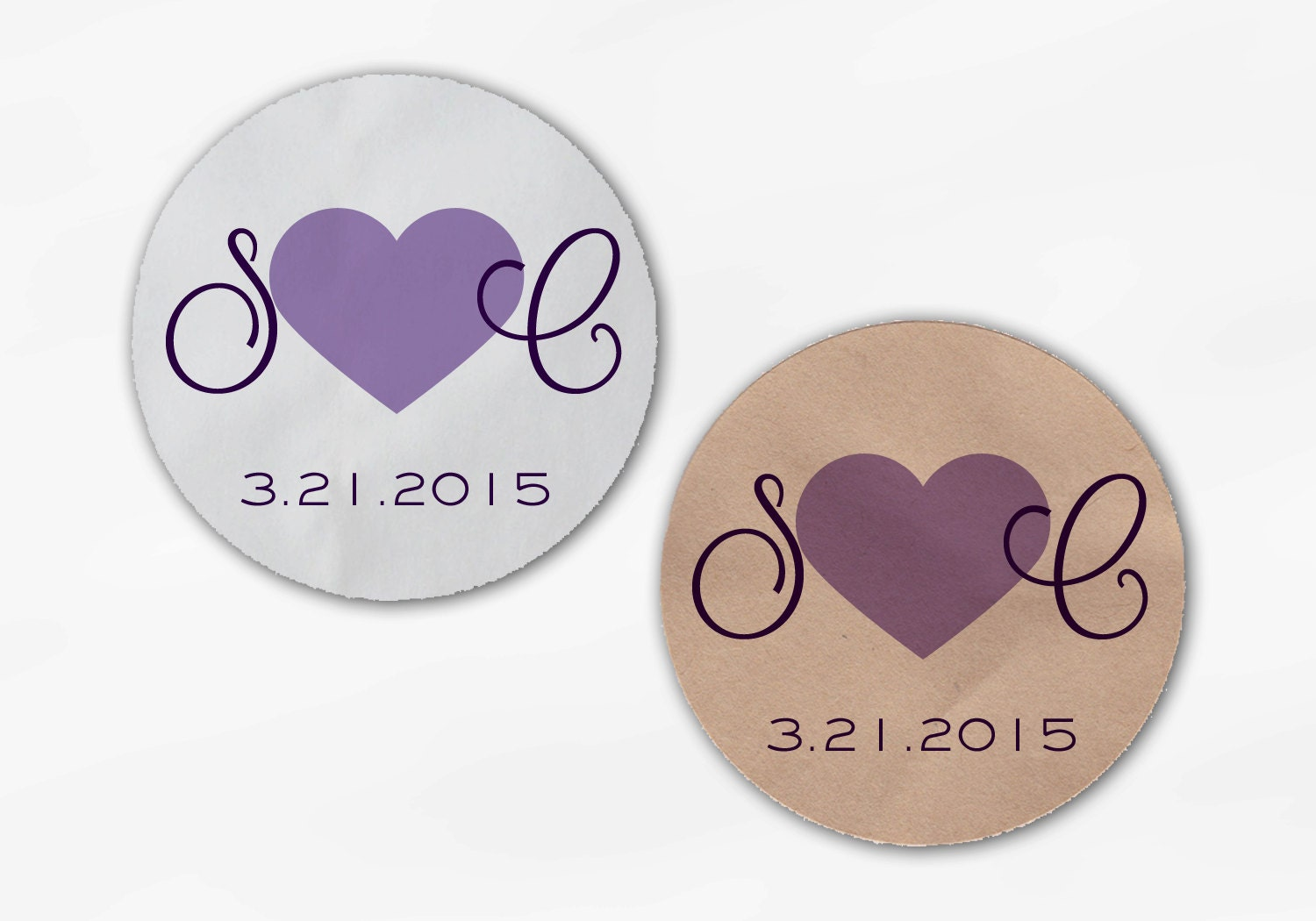 Initials and Heart Wedding Favor Stickers - Shades of Purple Custom ...