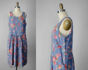 oversized denim dress | oversized floral dress | denim pinafore | oversized pinafore | light blue jean dress | orange floral dress