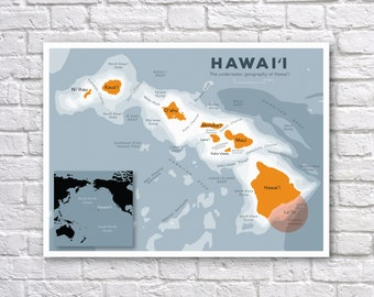 Hawaii Ocean Geography Map Poster - Hawaii - Volcanoes - Map Print
