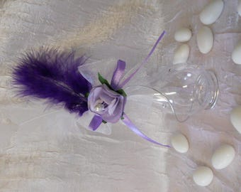 Plexi Teardrop topped with sugared almonds with aluminum wire and Orchid purple and white for wedding