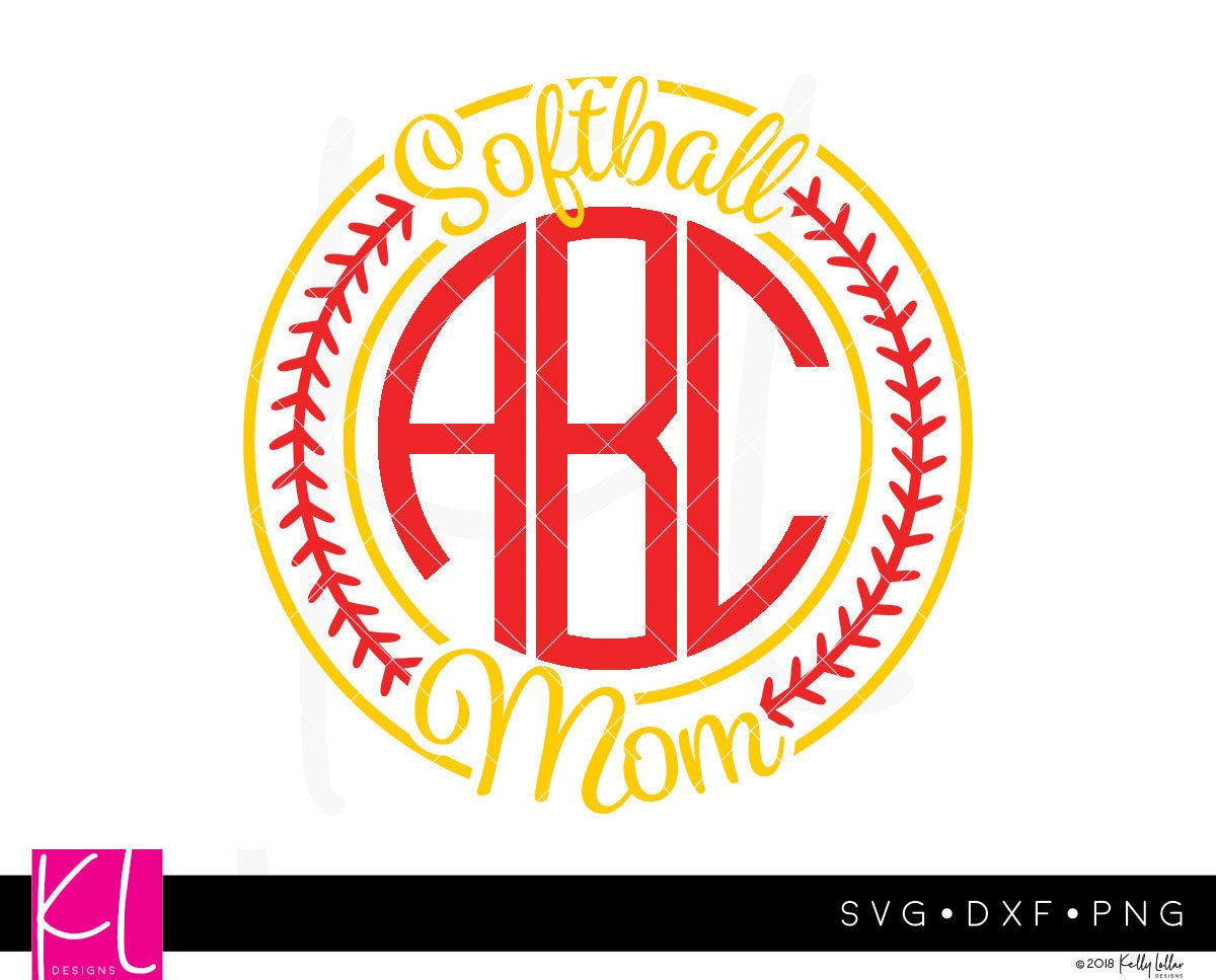 Softball Monogram svg - Softball Mom svg - Softball svg - Softball ...