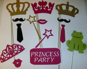 14pc Photo Booth Props Princess Party Crowns Wands Frog (2095D)