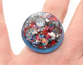 Liquid Moving Glitter Ring Patriotic Glitter Ring Pretty Shifting Lava Ring Bold Colored Water Glitter Ring Holographic Stim Jewelry