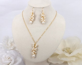 Kristin -  Freshwater Pearl Necklace and earrings Set