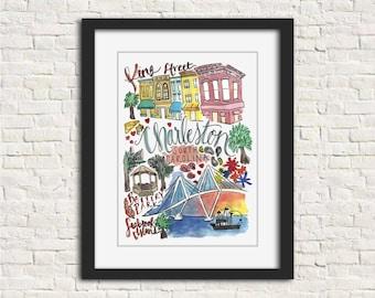 Charleston, South Carolina City Watercolor Illustration Wall Art Print // 8x10