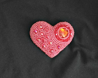 Red Heart Brooch Embroidered brooch Beaded brooch Embroidery brooch Handmade brooch