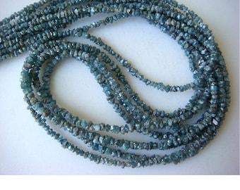 Blue Diamonds - Raw Uncut Diamond Beads - Rough Diamonds - Diamond Chips - 2mm To 3mm - 4 nch Half Strand