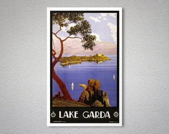 Lake Garda, Italy Vintage  Travel Poster - Poster Print, Sticker or Canvas Print / Gift Idea