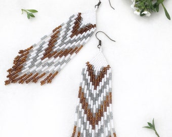 Gold and Grey Chevron Earrings