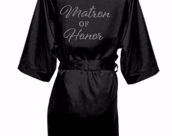 Bridal Party Satin Robes with Rhinestone Crystals, Bridesmaid Robes, Satin Bride Robe ,Rhinestone Bridal Party Robe, Matron of Honor Robe