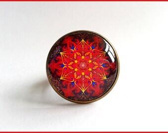 Red mandala pattern 20 mm cabochon Adjustable ring