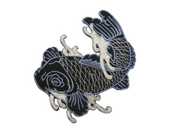 Japanese koi fish Tattoo fish  Embroidered Applique Iron on Patch