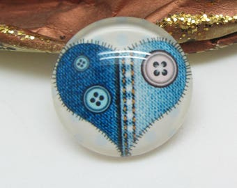 1 cabochon 25 mm glass spirit heart Blue Jean - 25 mm button