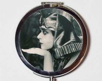 Art Deco Cleopatra Compact Mirror - Vamp Silent Film Theda Bara Egyptian - Make Up Pocket Mirror for Cosmetics