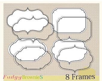 ON SALE bracket frame, Digital frame, Line Frames clipart, digital scrapbooking frames.A-09, Instant download