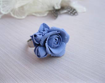 Wife gift for women Flower ring Polymer clay ring Anniversary ring Dainty ring Romantic ring for her Purple ring Delicate ring Rose ring
