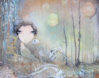 limited edition fine art skeleton girl print.  skeleton, hot air balloon, big eyed girl painting on wood with resin