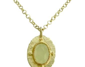 Collier de jade vert, collier en argent sterling, or collier en argent, collier tons deux, grand pendentif - dans les coulisses de N8853X