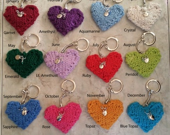 Birthstone/Month Keychain with Personalized Handstamped Initial Charm Tiny Hand Wirewrapped Birthstone Dangle Knit Heart Gift under 20.
