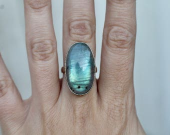 Gorgeous Sterling Silver Labradorite Ring, Size 6.5, Blue Labradorite Ring, Oval Cabochon, Christmas Gift