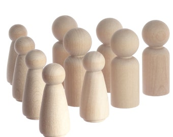Five 6cm peg doll boys and five 5.1cm girls - unpainted solid wooden peg people perfect for making Christmas decorations, toys, cake toppers