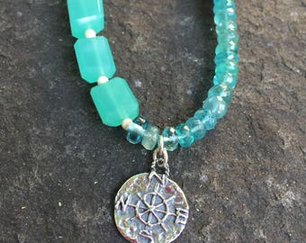 Amazonite, Apatite, Chalcedony, Sterling Silver and Leather Boho Necklace    Statement Necklace    Leather and Gemstone Necklace