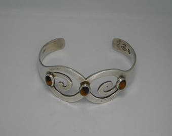 Sterling Tiger Eye Cuff Bracelet